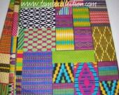 Unique kente print patchwork fabric 6 yards/ Printed African Patchwork fabric/ Kente Stoles/ African Textiles/ Unique African fabrics