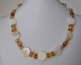 Amber & Gold Mother of Pearl Necklace