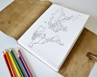 Leather Travel Sketchbook, Color In Map Journal, Personalized Gift for Travelers, Travel Scrapbook, World Map Journal, Coloring Map Choc 6x8