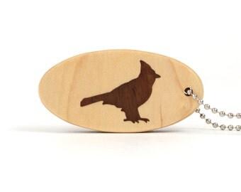 Cardinal Key Chain Wood Bird Key Ring Wooden Nature Key Fob Cardinal Key Ring Maple