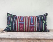 "16"" x 32"" Vintage Textiles Ethnic Hand Print Patch Work Pillow Case Pieces Of Retro Tribal Costume"