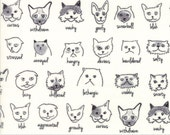 Meow or Never - Catatude in Milk by Erin Michael for Moda Fabrics