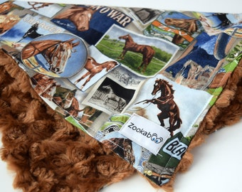 Minky Lovey, Security Blanket, Horses, Zookaboo, Ready to Ship, Reduced to Move Out