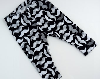 Mustache Baby Leggings, Hipster Baby Clothes, Handmade, Ready to Ship, Zookaboo