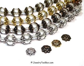 Flower Bead Caps, 4 Petal Bead Cap, Choose Antique Silver, Copper, Gold, Bronze, Hematite, 10.5x10.5x5mm, 2mm hole, Lot Size 30 to 50, #2022