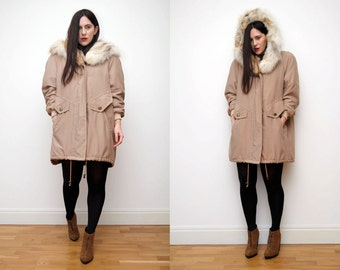 Vintage Real Fur Hood Real Cape Parka Coat