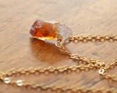 Genuine Citrine Necklace, Raw Gemstone, Simple, Minimalist, Real Gold Jewelry, Free Shipping