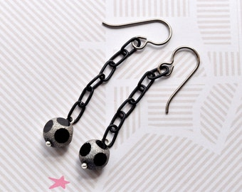 Black Bead Earrings, Titanium Jewellery, Black Silver, Chain Drop Earrings, Discoball Glitter, Hypoallergenic UK Earrings