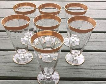 Elegant VINTAGE Gold Rimmed Parfait or Drink Glasses