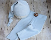 Newborn Boy Photo Prop Hat and Pant Set - Newborn Upcycled Outfit - Baby Blue - READY TO SHIP