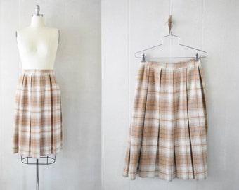 Vintage 1950s/1960s Pleated Plaid Wool Skirt   Neutral Pallet   A-Line    High Waist
