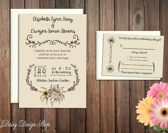 Wedding Invitation - Wildflower and Laurels in Rustic Style - Invitation and RSVP Card with Envelopes