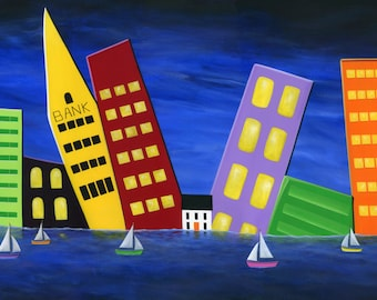 Original Painting Hilly Harbourfront by Brianna - 24x48 - Large Folk Art Cityscape Waterfront sailboat white house - OOAK Acrylic on Canvas