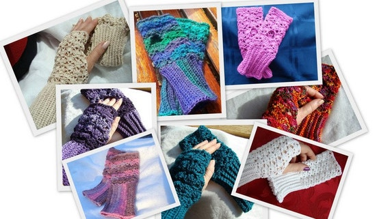 DIGITAL PATTERN - Crocheted fingerless gloves, wrist cuffs, lace Victorian gloves, texting gloves