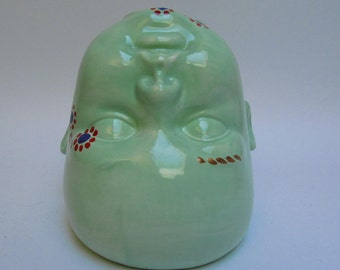 Green Handpainted baby head vase