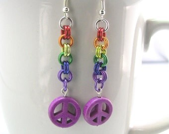 Peace True Colors Chainmaille Earrings
