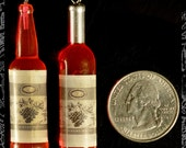 Red-Pink Resin Wine Bottle Pendants or Charms, Set of Two  OD-05