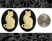 Cat Cameos - Two Cream Cat on Black Cameos 30x40mm Resin Cameos  CAM151
