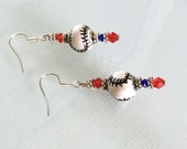 Red White and Blue Baseball Earrings