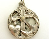 French slide locket ,art nouveau silver plated slide locket, Faith , Hope and Charity