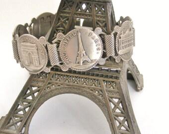 Vintage French Paris souvenir bracelet in silver plate
