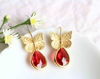 Gold Butterfly Earrings, Ruby Jewelry Earrings, Dangle Butterfly Earrings, Gold Fairy Garden.