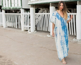 Cotton caftan, maxi loose dress, caftan dress, oversize dress, tie dye summer gown, unique pice loose dress. Made to order.