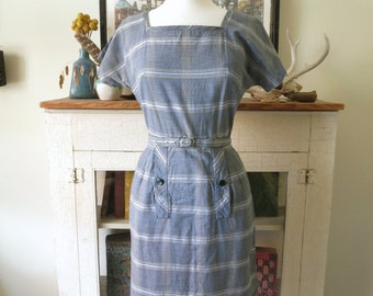 50s wiggle dress, mid century, blue micro plaid, XS, S