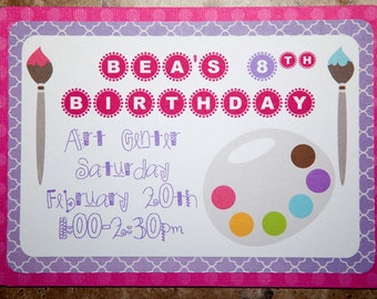 Paint Themed Birthday or Baby Shower Invitations