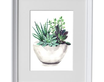 Framed Succulent watercolour print