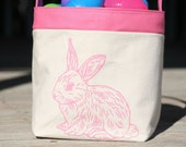 Children's Easter Basket Pink with Pink Bunny Rabbit
