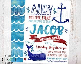 NAUTICAL BIRTHDAY Invitation, Whale birthday invitation, Watercolor Nautical birthday party invitation Whale invitation anchor beach