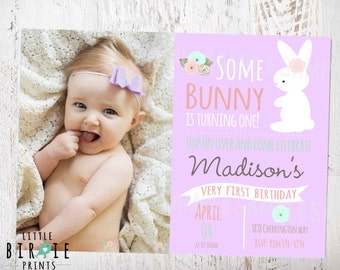 BUNNY BIRTHDAY INVITATION Purple Some Bunny Is Turning One invitation Bunny First Birthday Party Invitation - Bunny birthday invitation