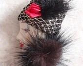 Classy Lady Brooch Resin Profile Pin Faux Fur Vintage V0521