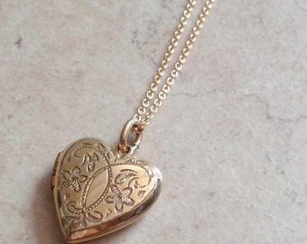 Heart Locket Necklace Gold Filled Floral Double Picture Vintage 081215YV