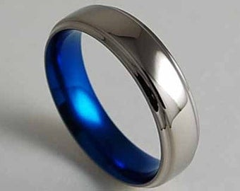 Titanium Ring , Mens Wedding Band , Promise Ring , Neptune Band in Nightfall Blue with Comfort Fit