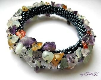 Beaded gemstone chips bracelet, crochet cluster bangle, bead-woven multicolor bangle, multi-layered cuff, reat gift idea for her