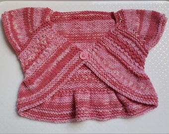 Knitted Baby Clothes- Handmade Knitted Bolero - Girls Shrug Style Sweater - 3-6 Months Baby Gift - Ready to Ship