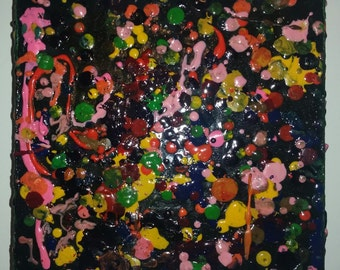 Compatible Cumbustion a wax encaustic abstract art Mixed Media 7 x 7 x 2