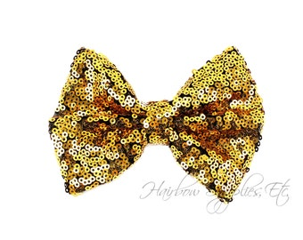 Dark Gold Large Sequin Bows 4 inch Bows- Bow Applique, Sequin Bow, Large Bows, Big Bows, Wholesale Bows, Sequin Bow Tie, Sequin Bow Headband