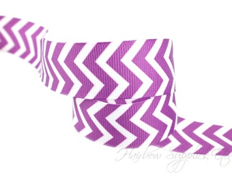 NEW Plum Chevron Ribbon 1-1/2 inch - Choose from 1-10 yards Grosgrain Ribbon - Hairbow Supplies, Etc.