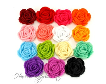 Felt Roses Small 1-1/4 inch - Felt Flowers, Felt Flower Headband, Felt Flower Clip, Felt Flower Hair Clip, Felt Flower Bouquet