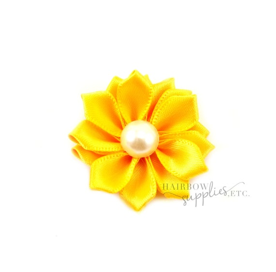 Yellow Dainty Star Flowers with Pearl 1-1/2 inch - Yellow Fabric Flowers, Yellow Silk Flowers, Yellow Hair Flowers, Yellow Flowers for Hair