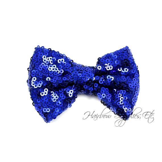 Royal Blue Sequin Bows Small 3 inch - Sequin Bow Headband, Sequin Bow Tie, Sequin Hair Bow, Sequin Hair Bows, Sequin Baby Bows