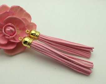 50 Pieces 86x12MM Light Pink Color Faux Suede Leather Tassel With Plastic Gold Top Cap,Phone Accessories, Necklace Tassel Pendant