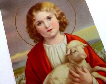 Vintage USA Litho 1930s Child Jesus Holy Card