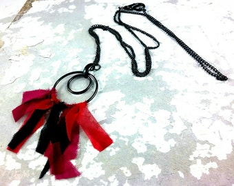 Circle Necklace Black Metal and Red Pink Black Fabric Upcycled Jewellery on Metallic Black Chain with Oversized Lobster Clasp