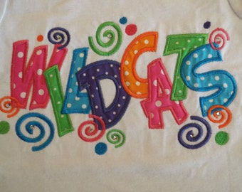 Ready to ship **Girls size 4**  WILDCATS Aiden Applique Font