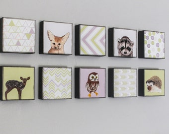 woodland nursery art-ten set-5x5 customizable art blocks- kid room decor- art for babies room-nursery art block-redtilestudio