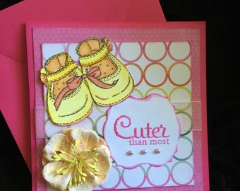 Baby shower or little girl card cuter than most yellow baby shoes and flower